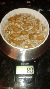 Weigh the nuts - nut spread